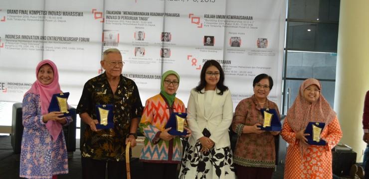 Penghargaan Bidang Inovasi, Wirausaha dan Kekayaan Intelektual Bagi Dosen, Peneliti, dan Mahasiswa UI 2015